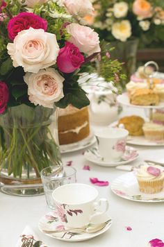Afternoon tea table with beautiful china and roses from Paris, Prada, Pearls, Perfume