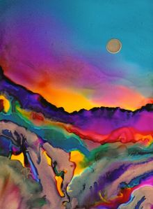 Alcohol inks on yupo. Dreamscape by June Rollins Alcohol inks Alcohol Ink Crafts, Alcohol Ink Painting, Alcohol Ink Art, Silk Painting, Painting & Drawing, Painting Videos, Painting Frames, Landscape Art, Desert Landscape