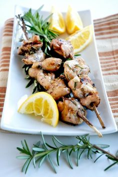 "Chicken Rosemary Skewers | The chicken rosemary skewers are a simple as cut, dress, skewer, and grill.  When it becomes grill time in your area (for some of you it's always grill time, even in the snow), give this recipe a try.  And don't tell 'em you are cooking them something ""quick and easy.""  Get all brainy on them and say you are cooking minimalist style. 