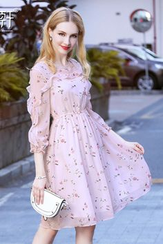 Pink Floral Print Round Neck Ruffled Sleeves Dress, You can collect images you discovered organize them, add your own ideas to your collections and share with other people. Muslim Fashion, Modest Fashion, Fashion Dresses, 80s Fashion, Pretty Outfits, Pretty Dresses, Beautiful Dresses, Indian Designer Outfits, Designer Dresses