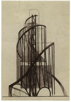 Monument to the Allure of the might-have been ... a drawing of the side of Tatlin's monument. Photograph: N. Punin Archive, St Petersburg