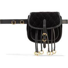 Prada Leather-trimmed quilted velvet belt bag