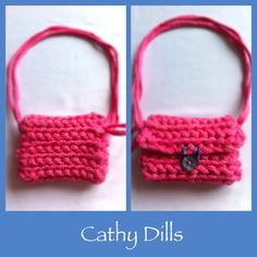 £7 Handmade PINK & SMALL WHITE POLKA DOT crochet HANDBAG. Size: 12cm x 9cm. Blue shell button.