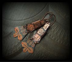 Copper Banded Slabs and Vintage Tin Earrings by YuccaBloom on Etsy, $36.00