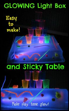 Easy to make GLOWING light box and   sticky table- so many ways to discover and explore!