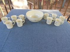 Homer Laughlin Tom and Jerry Punch Bowl with set of 10 Mugs Set. Ivory And Gold
