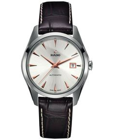 Rado Men's Swiss Automatic HyperChrome Brown Leather Strap Watch 39mm R32115115