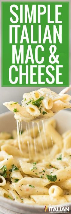 Italian mac and cheese is creamy, full of flavor, and easy to throw together on busy nights. Make this recipe today with just 7 ingredients! Mac Cheese Recipes, Pasta Recipes, Dinner Recipes, Cooking Recipes, Italian Dishes, Italian Recipes, New Recipes, Favorite Recipes, Italian Pasta
