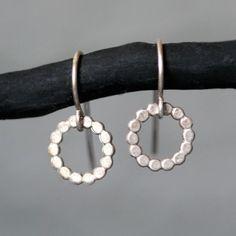 Flat Circle Dangle Earrings in Sterling Silver