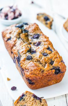 Brown Sugar Blueberry Banana Bread with Blueberry Butter - Blueberry coffee cake meets super soft banana bread! Put your ripe bananas to use with this!!