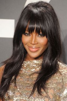 Supermodel Naomi Campbell arrives at the Tom Ford Autumn/Winter 2015 Womenswear Collection Presentation at Milk Studios on February 2015 in Los Angeles, California. Long Haircuts With Bangs, Long Layered Haircuts, Long Bangs, Fringe Hairstyles, Hairstyles With Bangs, Straight Hairstyles, Cool Hairstyles, Layered Hairstyles, Naomi Campbell