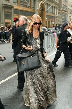Maxi dress, leather jacket and Kelly by  Hermes <3