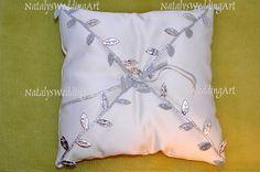 Silver ring pillow Leafs Ring Bearer Pillow  by NatalysWeddingArt, $25.00