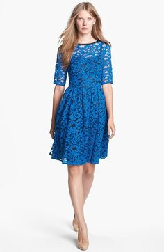 Adrianna Papell Lace Overlay Fit & Flare Dress (Regular & Petite) | Nordstrom