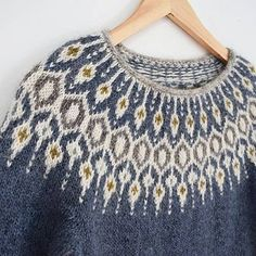 Inspired by traditional Icelandic circular yoke sweaters, Telja is knit in the round from the bottom Fair Isle Knitting Patterns, Fair Isle Pattern, Sweater Knitting Patterns, Knitting Designs, Knit Patterns, Free Knitting, Norwegian Knitting, Icelandic Sweaters, Nordic Sweater