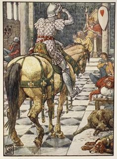 Percival Obtains the Shield of the Beating Heart, from 'Stories of the Knights of the Round Table' by Henry Gilbert, first edition, 1911. Illustration by Walter Crane