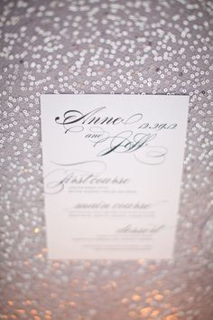 Sequins and silver!!   Wedding Menu by http://www.shineweddinginvitations.com , Photography by http://www.thisbegrace.com
