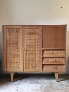 French Gilded Oak and Woven Rattan Dresser, 1960s for sale at Pamono