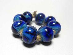 Lampwork. Glass bead handmade. Beads dark blue by Glasskaramelka