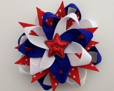 SALE - Fourth of July Hair Bow Hairbow 4th Fireworks Red White Blue American Independence Day Sparkling RED Star Spangled Bow - a MAGICAL SWEETZA Bow via Etsy