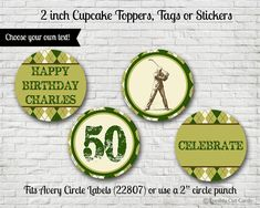 Argyle Golf Themed 2 Cupcake Toppers or by freshlycutcards on Etsy