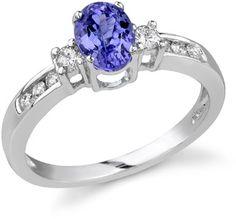 ApplesofGold.com - Royal Tanzanite and Diamond Ring, 14K White Gold
