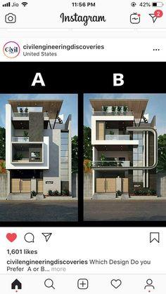 Architect Design House, Bungalow House Design, House Front Design, Modern House Design, Architecture Building Design, Home Building Design, Modern Architecture House, Narrow House Designs, Cool House Designs
