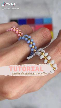 Pulsera Diy Friendship Bracelets Patterns, Diy Bracelets Easy, Handmade Bracelets, Diy Rings Easy, Diy Necklace Patterns, Beaded Bracelets Tutorial, Beaded Bracelet Patterns, Seed Bead Bracelets, Easy Diy