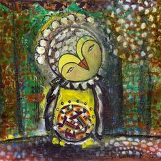 Whimsical Owl Mixed Media  8x8 inch Print of a by juliettecrane, $25.00