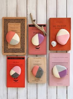 DIY color-blocked stones make pretty paperweights. Could had this to my diy Christmas list. Rock Crafts, Diy And Crafts, Arts And Crafts, Wooden Crafts, Art Crafts, Decor Crafts, Paper Crafts, Stone Painting, Diy Painting