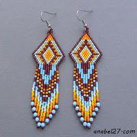 Схема индейских сережек из бисера - мозаика - seed bead earrings pattern - peyote