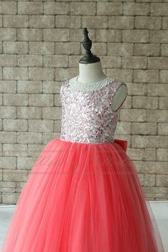 Tutu Sequined Flower Girls Dress Light Coral by Weddingcollection
