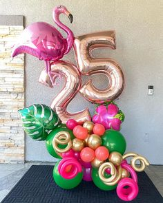 Hawaiian Party Decorations, Birthday Balloon Decorations, Happy Birthday Balloons, Flamingo Birthday, Flamingo Party, Balloon Gift, Balloon Garland, Balloon Arrangements, Balloon Bouquet
