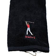 Personalized Embroidered Golf Towel with Hanging Ring Custom Embroidery Birthday Fathers Day Gift Men (Black)