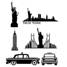 New York City Skyline and Landmarks like Statue of Liberty, Empire State Building and Iconic Taxi Cab Cuttable Design Cut File. Vector, Clipart, Digital Scrapbooking Download, Available in JPEG, PDF, EPS, DXF and SVG. Works with Cricut, Design Space, Sure Cuts A Lot, Make the Cut!, Inkscape, CorelDraw, Adobe Illustrator, Silhouette Cameo, Brother ScanNCut and other compatible software.