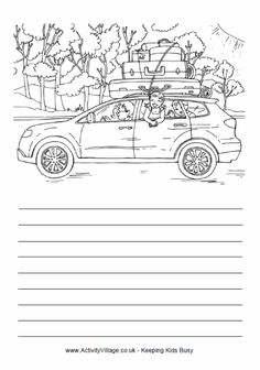Car trip coloring & story page