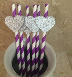 20 Purple Striped Party Straws with Silver Glitter Hearts, Baby Shower Decor, Wedding Decor, Birthday Party, Bridal Shower, Wedding Shower