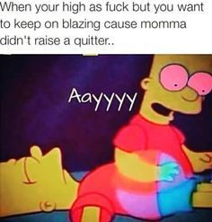 Momma didn't raise a quitter! Funny Weed Memes, Weed Jokes, 420 Memes, Weed Humor, Funny Quotes, Qoutes, Stoner Quotes, Stoner Humor, Stoner Art