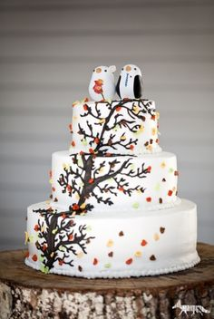 enchanted forest wedding cake | Enchanted forest wedding cake / Owl wedding cake!