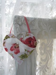 Small Fabric Heart Handmade Heart Hanger by mailordervintage