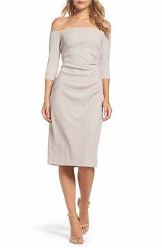 Main Image - Eliza J Off the Shoulder Sheath Dress (Regular & Petite)