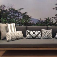 outdoor stof zwart-wit design 140 cm kleurmeester