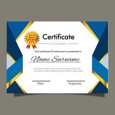 Blue Gold Certificate Template For Multipurpose Diploma Award Or Graduation