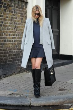 Sportmax coat, Zara top, skirt and boots, Versus Versace bag