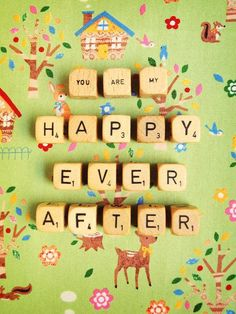 Wedding: You Are My Happy Ever After. Scrabble Word Dice. Fine Art Photography. Romantic. Woodland Forest. Green. Storybook theme. 8x10