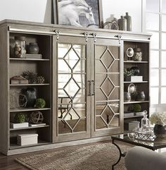 The Mirrored Reflections Collection by Liberty Furniture is in transitional styling that can be elegant as well as casual. The styling sliding door wall unit features a weathered taupe finish with white dusty wax and is combined with hardware in soft bras Furniture For You, Cool Furniture, Painted Furniture, Rustic Furniture, Bedroom Furniture, Furniture Dolly, Furniture Outlet, Basement Furniture, Inexpensive Furniture