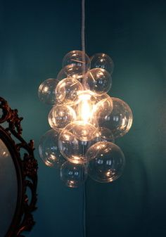 Diy bubble chandelier chandeliers lights and interiors glass bubble chandelier made for client who wanted a chic semi industrial piece aloadofball Images
