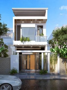 TOP 10 m?u nhà ph?p xu h? Villa Design, Facade Design, Exterior Design, House Front Design, Small House Design, Modern House Design, Minimalist House Design, Minimalist Architecture, Modern Architecture