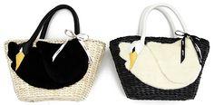 Milk: Swan basket bag in black with white swan