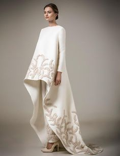 Ivory Handmade Appliques Muslim Evening Dresses Long Sleeves 2016 Chic High Low Moroccan Kaftan Dresses O Neck Robe De Soiree White Evening Gowns Womens Formal Dresses From Gonewithwind, $314.14| Dhgate.Com